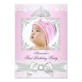 rosa u. silberne Prinzessin Girl First Birthday 8,9 X 12,7 Cm Einladungskarte