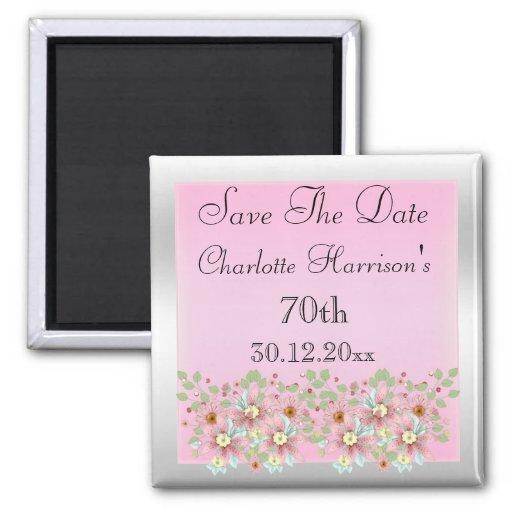 Rosa u. silbernes Save the Date mit Blumen70. Kühlschrankmagnet