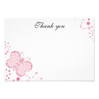 Rosa u weiße Schmetterlings-Ebene danken Ihnen zu Personalisierte Einladungskarten