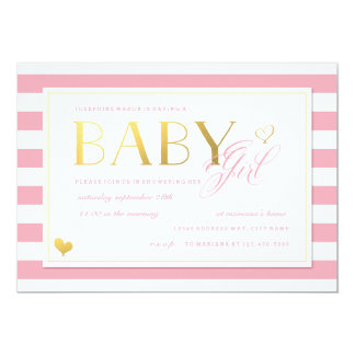 Rosa u. weiße Streifen-Baby-Dusche mit Gold 12,7 X 17,8 Cm Einladungskarte