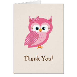 Rosa u. weiße Tupfen-Eule danken Ihnen Mitteilungskarte