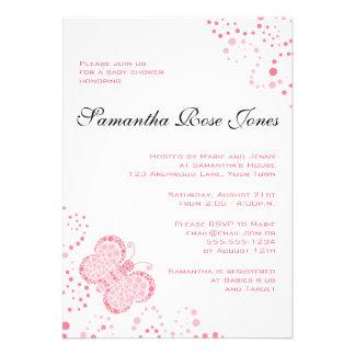 Rosa u. weißer Schmetterlings-elegante Babyparty Einladungskarten