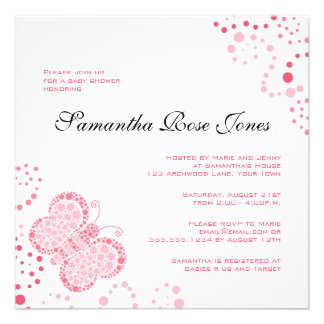 Rosa u. weißer Schmetterlings-elegante Babyparty Personalisierte Ankündigungskarte