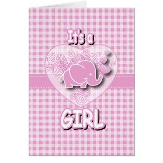 Rosa-u. weißerkarierter Baby-Elefant Karte