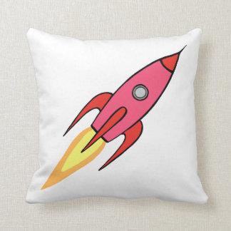 Rosa-u. weißerniedlicher Retro Rocketship Kissen