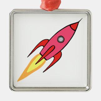 Rosa-u. weißerniedlicher Retro Rocketship Quadratisches Silberfarbenes Ornament
