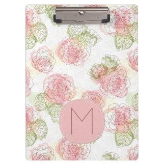 Rosa-und Aprikosen-flüchtiges Blumenmuster Klemmbrett