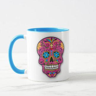 Rosa-und Aqua-mexikanischer Zuckerschädel-Tag der Tasse