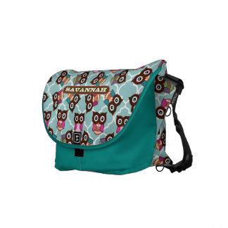 Rosa-und Aqua-niedliches Eulen-Muster wählen Sie Kurier Tasche