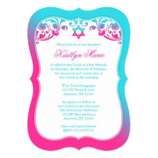 Rosa und aquamariner blauer Wirbels-Schläger 12,7 X 17,8 Cm Einladungskarte
