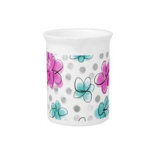 Rosa und aquamariner Watercolor-Blumen-Polka-Punkt Krug