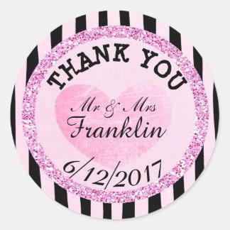 Rosa und B|lack danken Ihnen Hochzeits-Aufkleber Runder Aufkleber