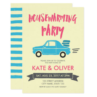 Rosa und blaue Autohousewarming-Party Einladung