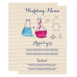 Rosa und blaue Chemie-Hochzeits-Menü-Karten 12,7 X 17,8 Cm Einladungskarte