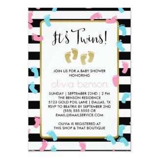 Rosa und blaue Goldabdruck-Zwillings-Babyparty 12,7 X 17,8 Cm Einladungskarte