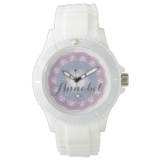 Rosa und blaue Spitze mit Namensuhr Uhr