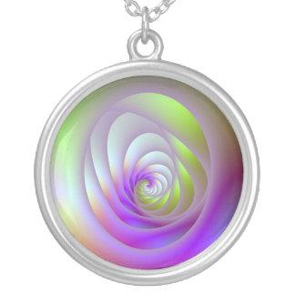 Rosa und blaue Strahlungs-Halskette Versilberte Kette
