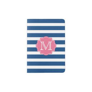 Rosa und blaue Streifen-Monogramm-Pass-Halter Passhülle