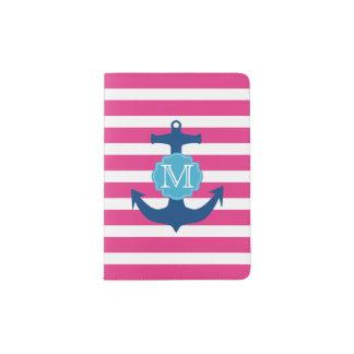 Rosa und blauer Anker-Monogramm-Pass-Halter Passhülle