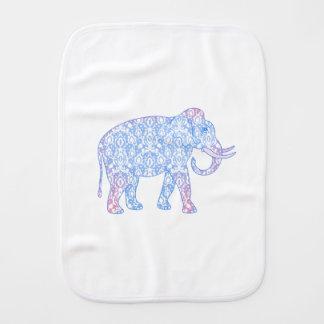 Rosa und blauer Damast-Elefant Baby Spucktuch