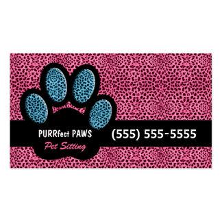Rosa und blauer Gepard-Druck-kundenspezifisches Visitenkarten