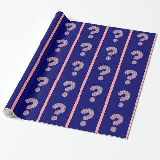Rosa und blaues Fragezeichen Geschenkpapier