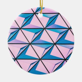 Rosa und blaues geometrisches Muster Keramik Ornament