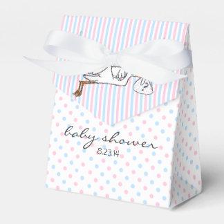 Rosa und blaues Geschlecht decken Babyparty auf Geschenkkarton
