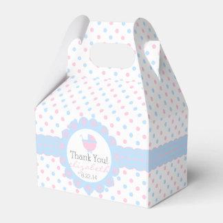 Rosa und blaues Tupfen-Geschlecht decken Babyparty Geschenkkartons