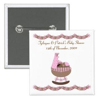 Rosa und Braun themenorientierte Babyparty Quadratischer Button 5,1 Cm