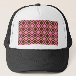 rosa und braune Quadrate oder Diamanten Truckerkappe