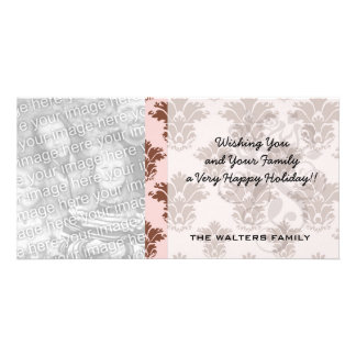 rosa und braunes Damastmuster Bon Bon Fotokarten