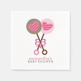 Rosa und Brown-Baby-Geklapper Serviette