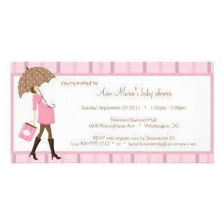 Rosa und Brown-Babyparty-Einladung Fotokarte