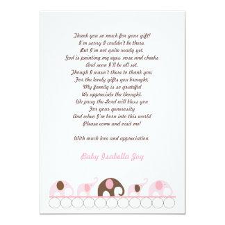 Rosa und Brown-Elefant danken Ihnen, mit Gedicht 12,7 X 17,8 Cm Einladungskarte