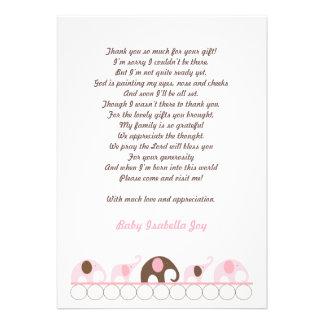 Rosa und Brown-Elefant danken Ihnen mit Gedicht Personalisierte Einladung