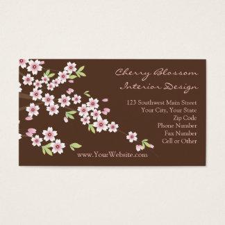 Rosa-und Brown-Kirschblüten-Visitenkarten Visitenkarte