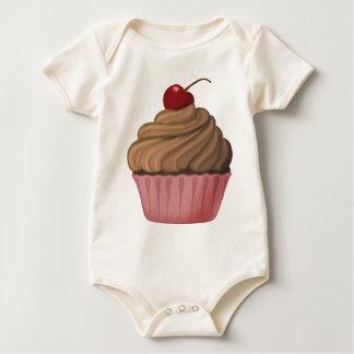 Rosa und Brown-kleiner Kuchen Baby Strampler