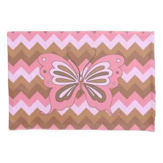 Rosa und Brown-Schmetterling Kissenbezug