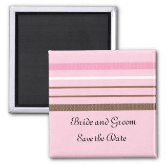 Rosa und Brown-Streifen Quadratischer Magnet