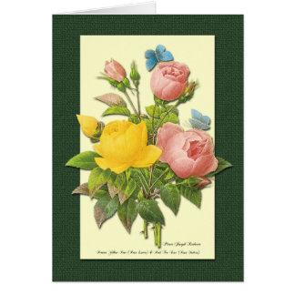 Rosa-und Gelb-botanische Rosen-Kunst-Karte Karte