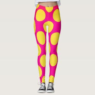 Rosa und gelbe Blasensiebziger jahre Art Leggings