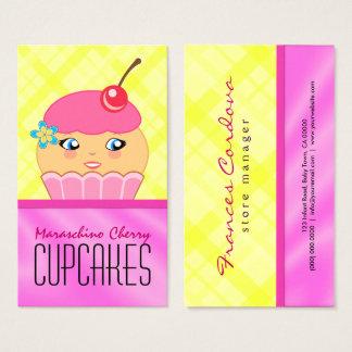 Rosa und gelbe Kuchen-Charakter-Bäcker-Bäckerei Visitenkarte