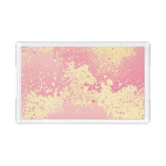 Rosa und gelber Farben-Spritzer Acryl Tablett