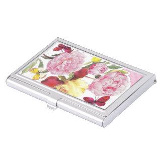 Rosa und gelber Schmetterlings-Iris-mit Visitenkarten Etui