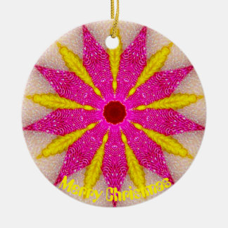 Rosa und gelbes Pointsettia Fraktal Keramik Ornament