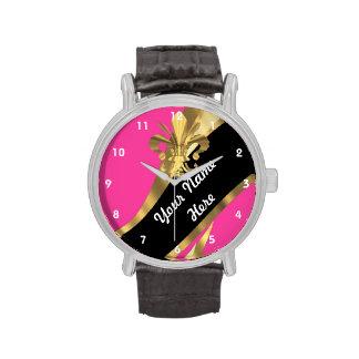Rosa und gold Fleur de Lys personalisiert Uhren