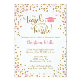 Rosa und GoldAbschluss-Einladung Karte
