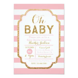 Rosa und GoldBabyparty-Einladung, Baby 12,7 X 17,8 Cm Einladungskarte