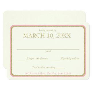 Rosa-und Goldband-Grenzhochzeits-Antwort 8,9 X 12,7 Cm Einladungskarte